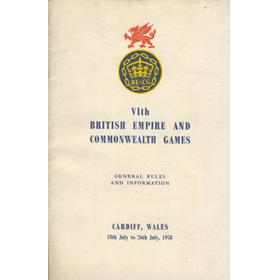 VITH BRITISH EMPIRE AND COMMONWEALTH GAMES 1958 GENERAL RULES AND INFORMATION BOOKLET