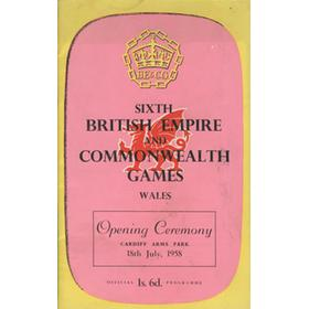 BRITISH EMPIRE AND COMMONWEALTH GAMES 1958 OPENING CEREMONY PROGRAMME