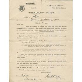 ESSEX COUNTY FOOTBALL SELECTION LETTER 1925 - R. SCOTT OF COLCHESTER TOWN