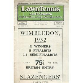 LAWN TENNIS AND BADMINTON MAGAZINE 1932 - COMPLETE WIMBLEDON RESULTS