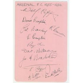 ARSENAL 1935-36 SIGNED ALBUM PAGE