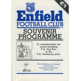 ENFIELD FOOTBALL CLUB SOUVENIR PROGRAMME - TO COMMEMORATE OUR RECORD BREAKING F.A. CUP RUN ...