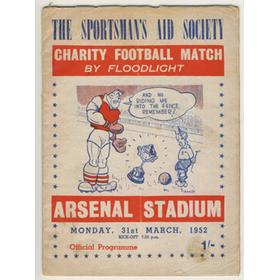 JOCKEYS V BOXERS 1952 FOOTBALL PROGRAMME (HIGHBURY)