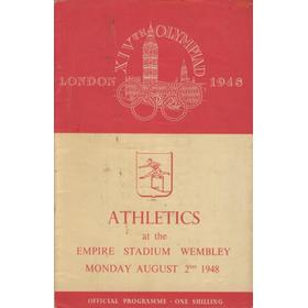 LONDON OLYMPICS 1948 - 2ND AUGUST ATHLETICS PROGRAMME