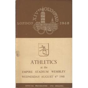 LONDON OLYMPICS 1948 - 4TH AUGUST ATHLETICS PROGRAMME