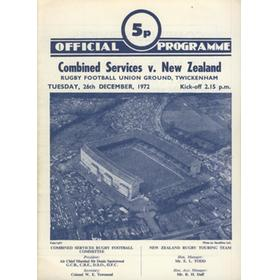 COMBINED SERVICES V NEW ZEALAND 1972 RUGBY PROGRAMME
