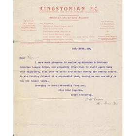 KINGSTONIAN FOOTBALL CLUB 1922 LETTER TO PLAYERS