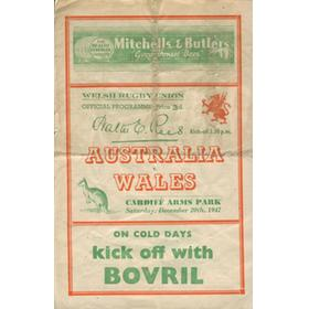 WALES V AUSTRALIA 1947 RUGBY PROGRAMME