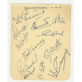 GLOUCESTERSHIRE COUNTY CRICKET CLUB 1951 SIGNED ALBUM PAGE