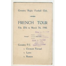 COVENTRY R.F.C. TOUR OF FRANCE 1946 SIGNED ITINERARY CARD