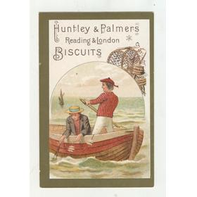 HUNTLEY AND PALMERS BISCUITS TRADE CARD C. 1880 - FISHING