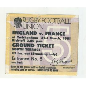 ENGLAND V FRANCE 1981 RUGBY TICKET (FRANCE GRAND SLAM)