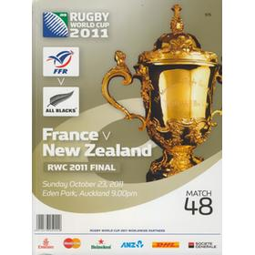 FRANCE V NEW ZEALAND 2011 RUGBY WORLD CUP FINAL PROGRAMME