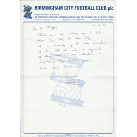 TERRY COOPER HANDWRITTEN LETTER - RELATING TO BIRMINGHAM CITY AND EXETER CITY