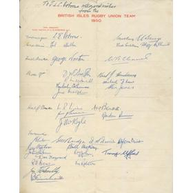 BRITISH LIONS TOUR TO NEW ZEALAND & AUSTRALIA 1950 SIGNED SHEET
