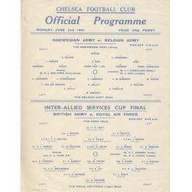 INTER-ALLIED SERVICES CUP FINAL 1941 FOOTBALL PROGRAMME - PLAYED AT STAMFORD BRIDGE (WITH NORWEGIAN ARMY V BELGIAN ARMY)