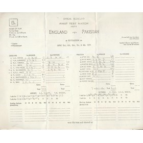 ENGLAND V PAKISTAN 1971 (EDGBASTON) CRICKET SCORECARD - ZAHEER 274