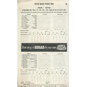 ENGLAND V PAKISTAN 1974 (OVAL) CRICKET SCORECARD