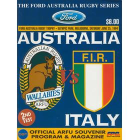 AUSTRALIA V ITALY (2ND TEST) 1994 RUGBY PROGRAMME
