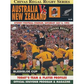 AUSTRALIA V NEW ZEALAND 1992 RUGBY PROGRAMME