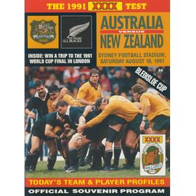 AUSTRALIA V NEW ZEALAND 1991 RUGBY PROGRAMME