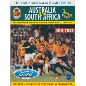 AUSTRALIA V SOUTH AFRICA (3RD TEST) 1993 RUGBY PROGRAMME