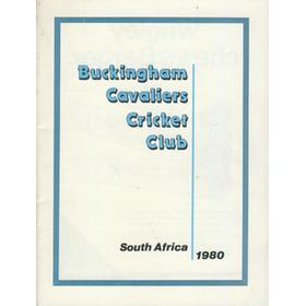 BUCKINGHAM CAVALIERS CRICKET CLUB TOUR TO SOUTH AFRICA 1980 BROCHURE