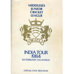 MIDDLESEX JUNIOR CRICKET LEAGUE TOUR TO INDIA 1984 BROCHURE