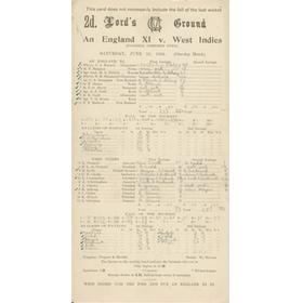 ENGLAND XI V WEST INDIES 1944 CRICKET SCORECARD