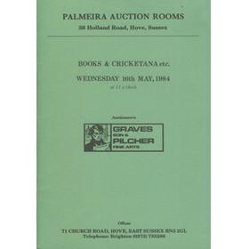 BOOKS AND CRICKETANA 1984 - PALMEIRA AUCTION ROOMS (SUSSEX) AUCTION CATALOGUE