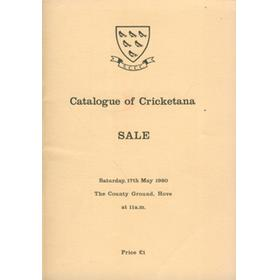 CATALOGUE OF CRICKETANA 1980 - AUCTION AT THE SUSSEX COUNTY GROUND, HOVE.