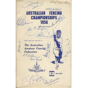 AUSTRALIAN FENCING CHAMPIONSHIPS 1956 PROGRAMME - EXTENSIVELY SIGNED