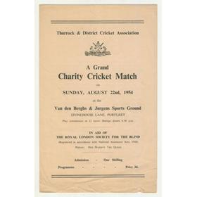 CELEBRITIES V THURROCK C.C. 1954 CHARITY CRICKET MATCH PROGRAMME