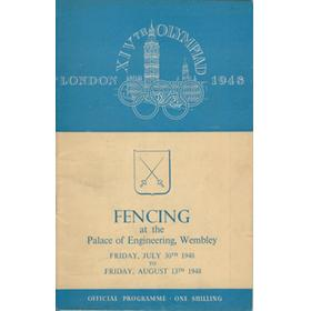 LONDON OLYMPICS 1948 FENCING PROGRAMME