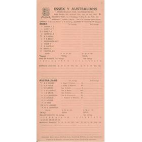 ESSEX V AUSTRALIA 1953 CRICKET SCORECARD