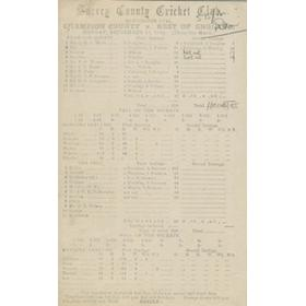 MIDDLESEX (CHAMPION COUNTY) V REST OF ENGLAND 1920 CRICKET SCORECARD