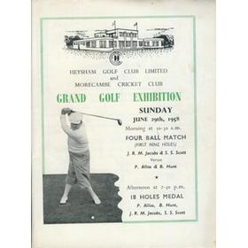 GRAND GOLF EXHIBITION 1958 (HEYSHAM GOLF CLUB) PROGRAMME