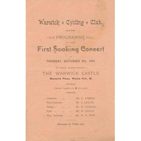 WARWICK CYCLING CLUB (MAIDA VALE) 1892 - PROGRAMME OF FIRST SMOKING CONCERT