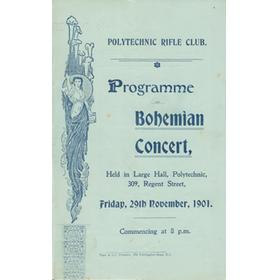 POLYTECHNIC RIFLE CLUB 1901 - PROGRAMME OF THE BOHEMIAN CONCERT