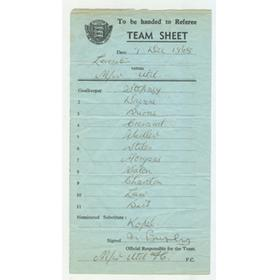 MANCHESTER UNITED 1968 MATCH TEAM SHEET (V LEICESTER CITY) - SIGNED BY BUSBY