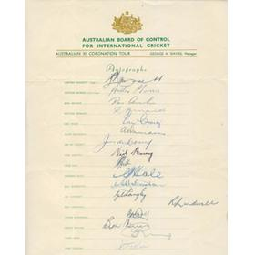 AUSTRALIAN TOUR OF ENGLAND 1953 SIGNED TEAMSHEET