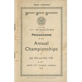A.A.A. ANNUAL CHAMPIONSHIPS 1938 ATHLETICS PROGRAMME