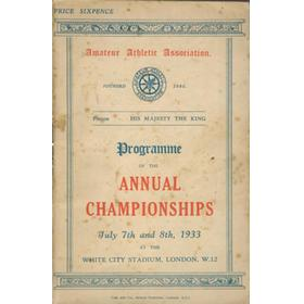 A.A.A. ANNUAL CHAMPIONSHIPS 1933 ATHLETICS PROGRAMME