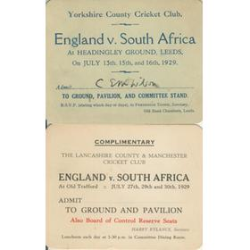 ENGLAND V SOUTH AFRICA 1929 (OLD TRAFFORD / HEADINGLEY) COMPLIMENTARY GROUND PASSES - C.E.M. WILSON (YORKSHIRE CCC)