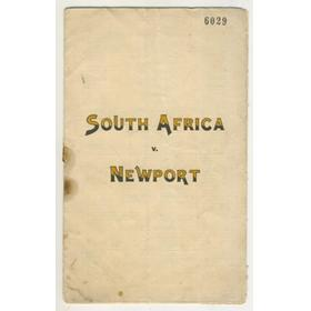 NEWPORT V SOUTH AFRICA 1931 RUGBY PROGRAMME