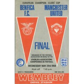 MANCHESTER UNITED V BENFICA 1968 (EUROPEAN CUP FINAL) FOOTBALL PROGRAMME