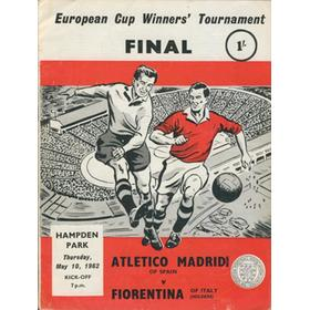 ATLETICO MADRID V FIORENTINA 1962 (ECWC FINAL) FOOTBALL PROGRAMME