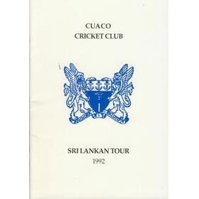 CUACO CRICKET CLUB TOUR TO SRI LANKA 1992 BROCHURE