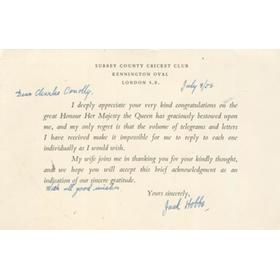 JACK HOBBS 1953 - SIGNED CARD RELATING TO HIS KNIGHTHOOD