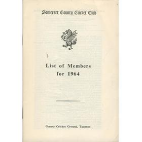SOMERSET COUNTY CRICKET CLUB LIST OF MEMBERS 1964
